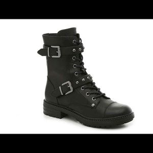 G by Guess Black Leather Granted Moto Combat Boots